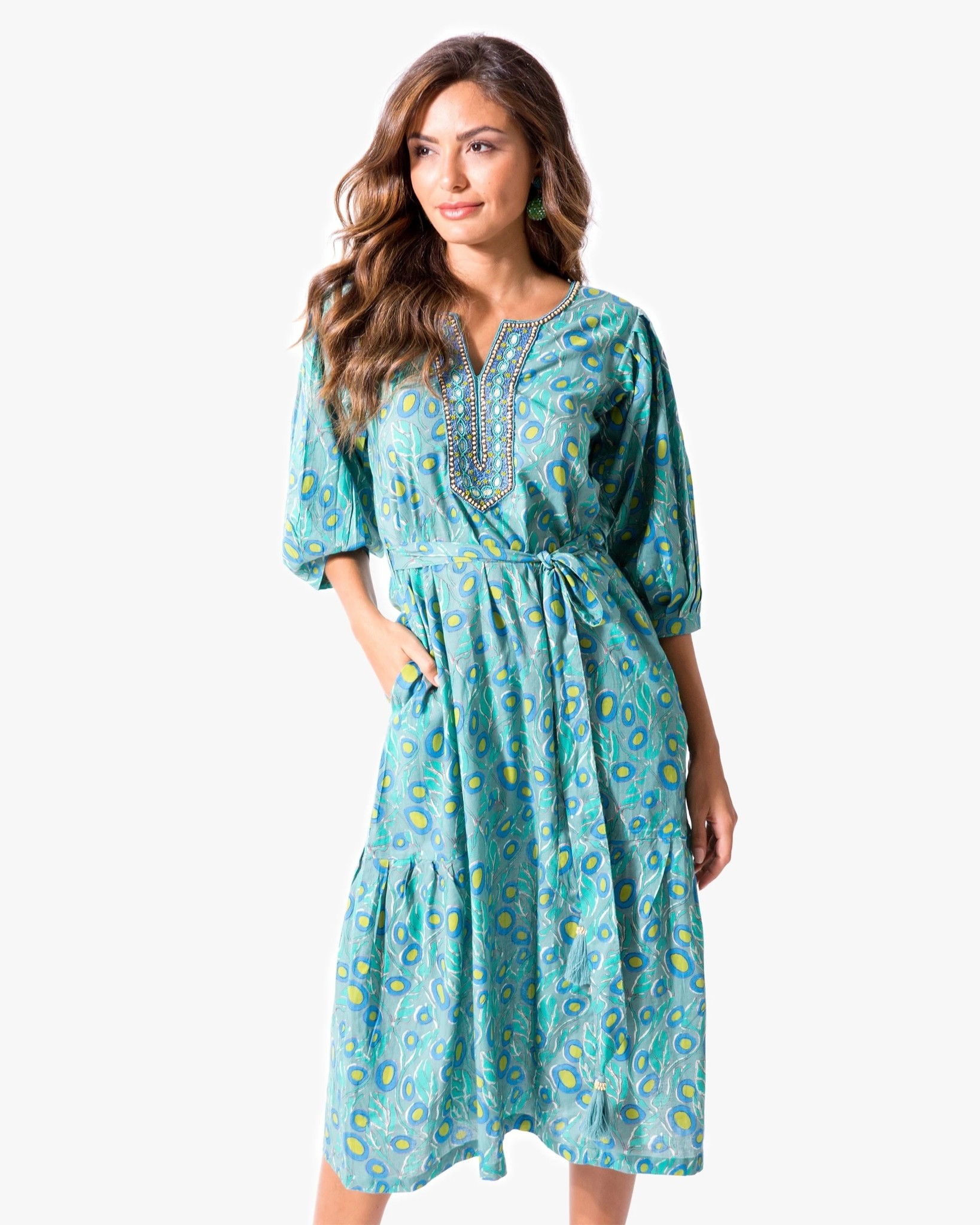 "BELLA TU Harper 48"" Peasant Dress"