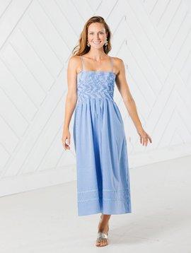 SAIL TO SABLE Blue Gingham Spaghetti Strap Midi Dress