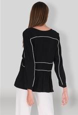 Muche et Muchette 1339b brandy pipped blouse