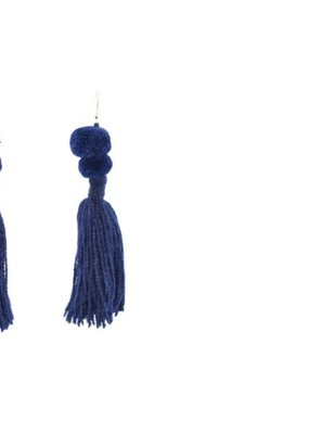 JOSEPHINE ALEXANDER Alexandra Double Pom Earrings Hanging Earrings with two poms and long tassel