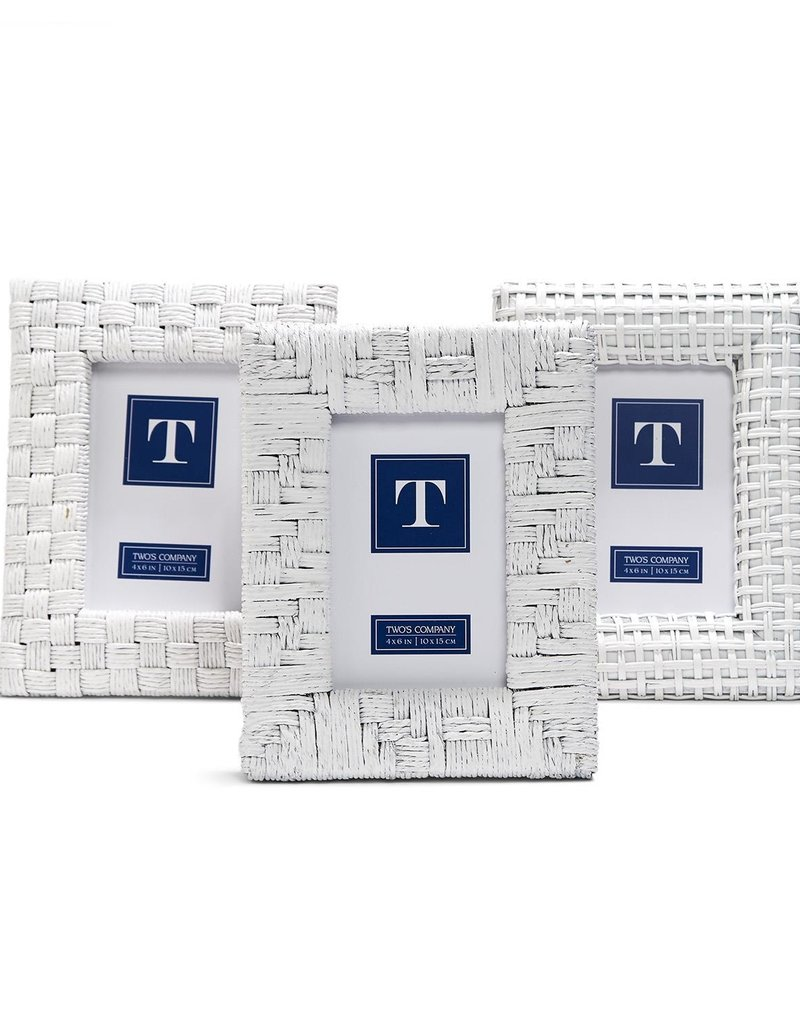TWO'S COMPANY White Rattan Frame