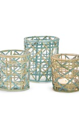 TWO'S COMPANY Woven Candle holder Large
