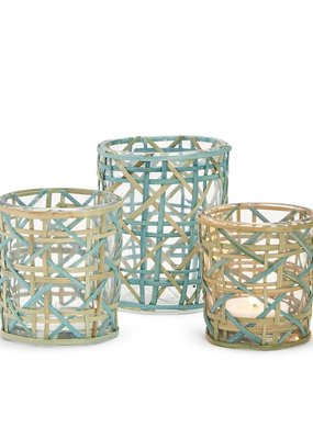 TWO'S COMPANY Woven Candle holder medium