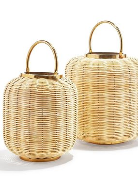 TWO'S COMPANY Bali Woven Cane Lantern Small