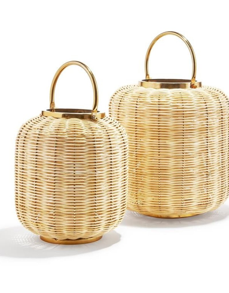 TWO'S COMPANY Bali Woven Cane Lantern Small