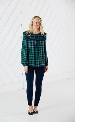 SAIL TO SABLE Plaid Ruffle Front Top