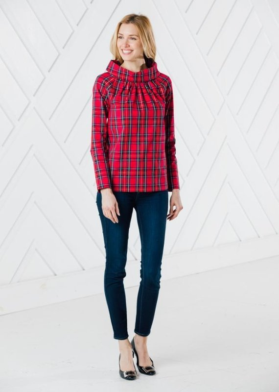 SAIL TO SABLE RED PLAID LONG SLEEVE BUTTON BACK TOP