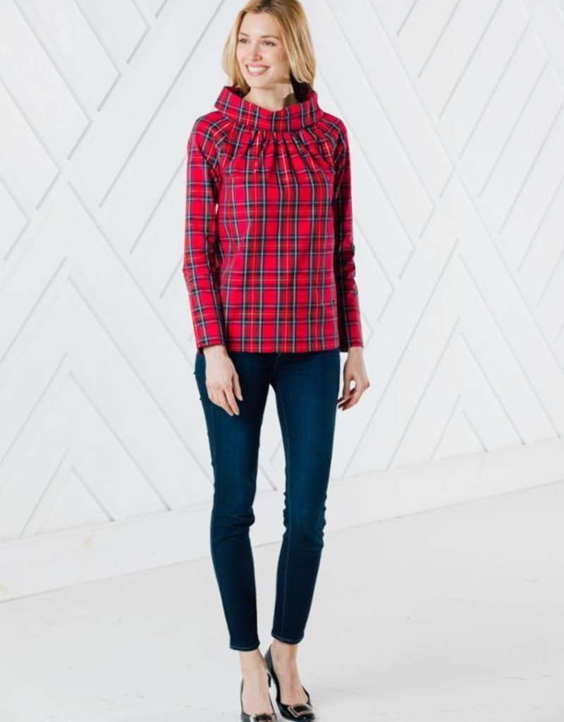 SAIL TO SABLE h2006 RED PLAID LONG SLEEVE BUTTON BACK TOP