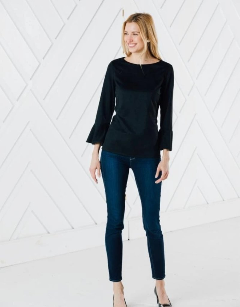 SAIL TO SABLE h2043 FAUX SUEDE RUFFLE SLEEVE TOP