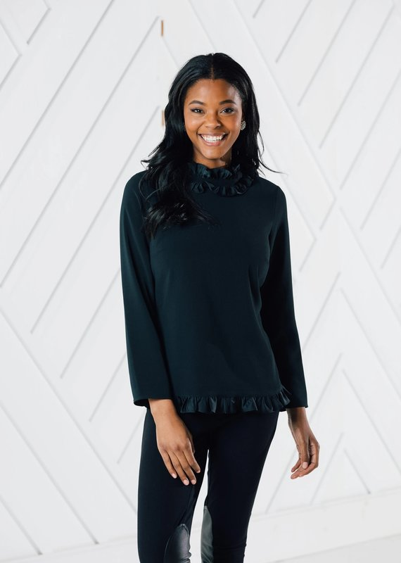 SAIL TO SABLE LONG SLEEVE DOUBLE RUFFLE TOP