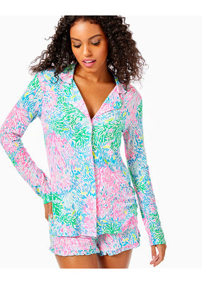 LILLY PULITZER PJ KNIT LS BUTTON-UP TOP