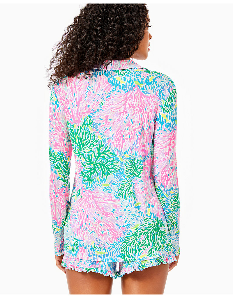 LILLY PULITZER R20 007120 PJ KNIT LS BUTTON-UP TOP