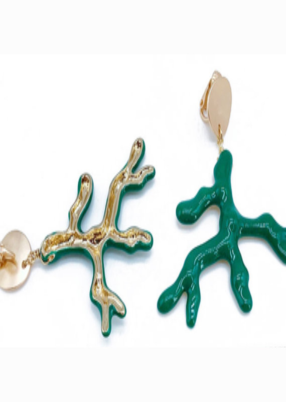 CB Designs Enamel coral green branch
