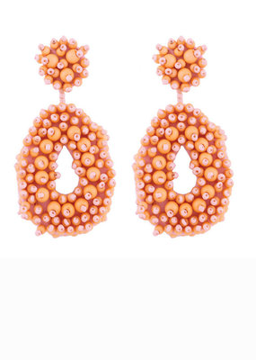 CB Designs Beaded hoops peach