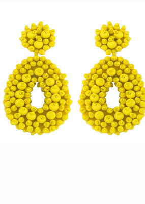 CB Designs Beaded hoops yellow
