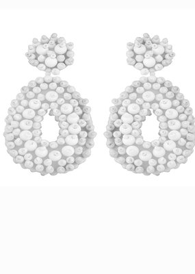 CB Designs Beaded hoops white