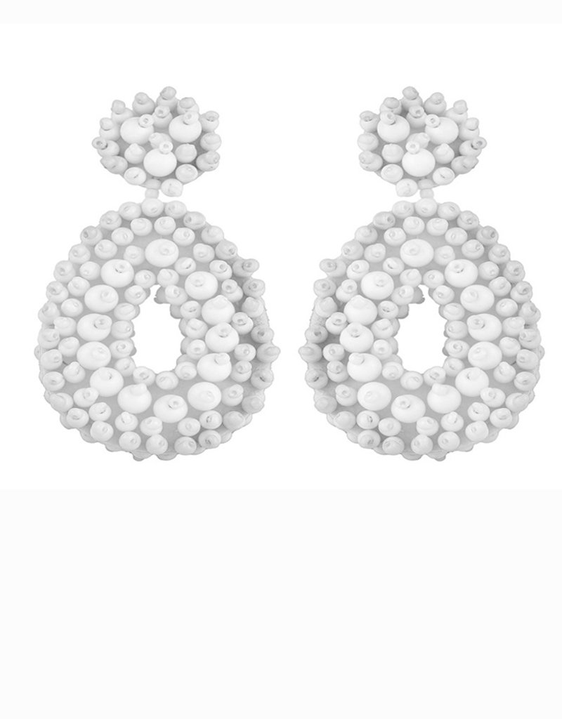 CB Designs cbd beaded hoops white
