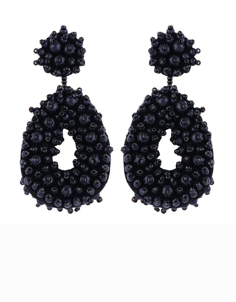 CB Designs beaded hoops black