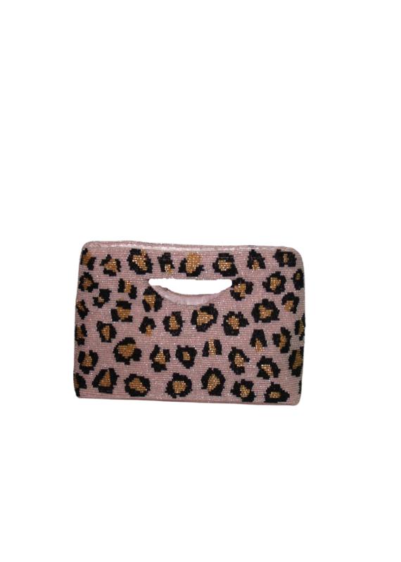 Pink Leopard Cut out handle bag