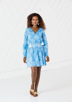SAIL TO SABLE Long sleeve smocked waist dress