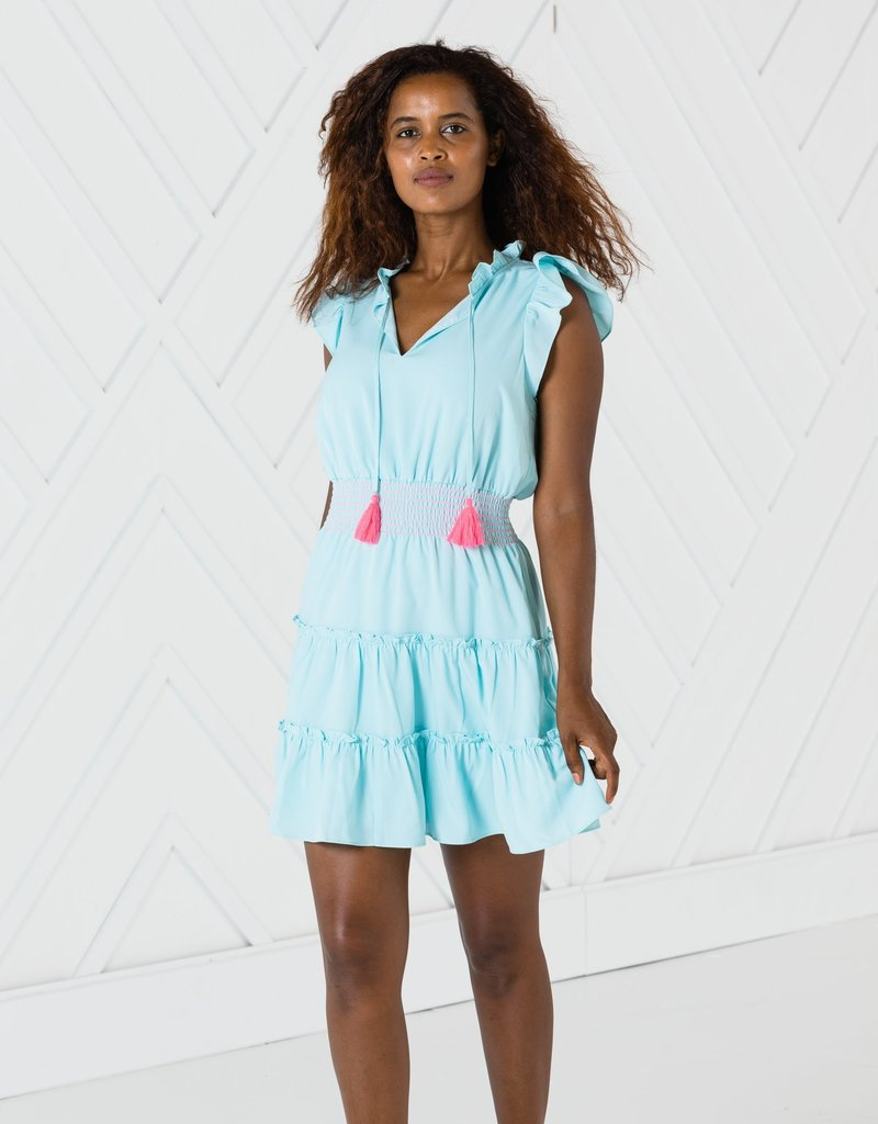 SAIL TO SABLE r2027 flutter sleeve tiered dress