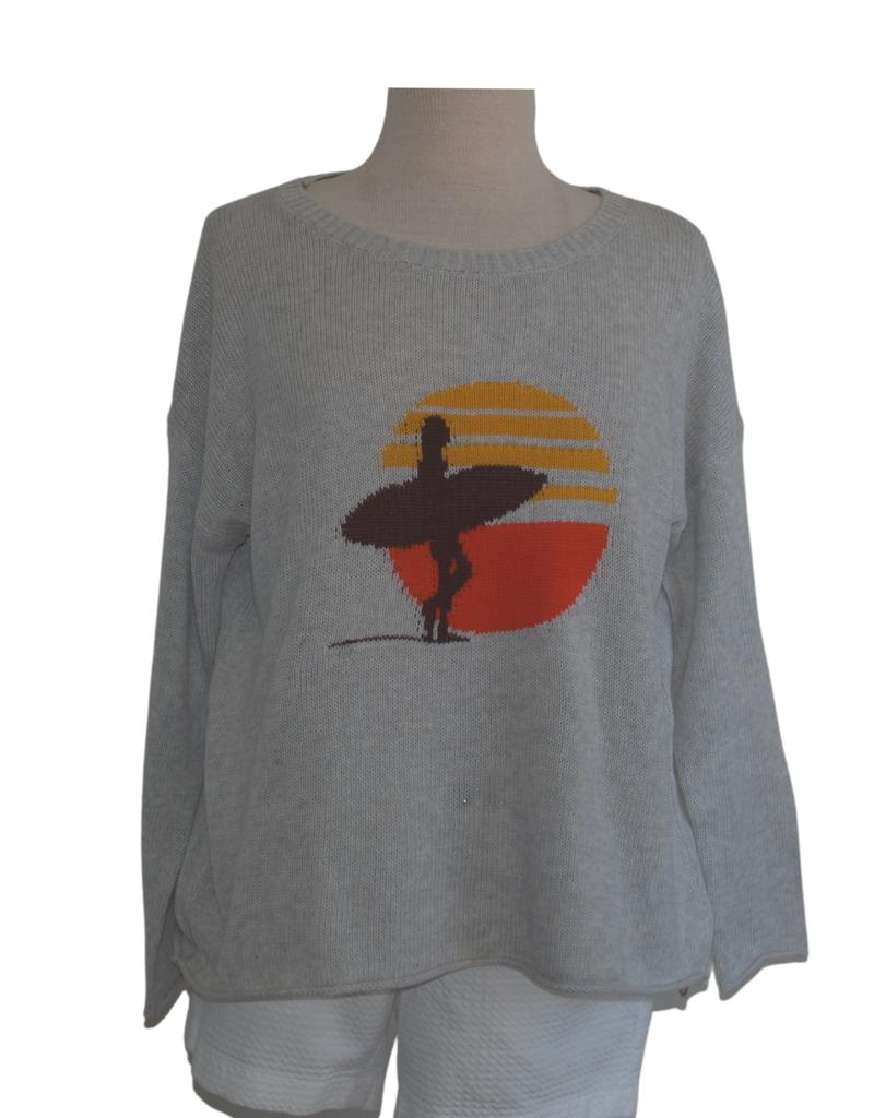 pink pineapple surfer girl sweater