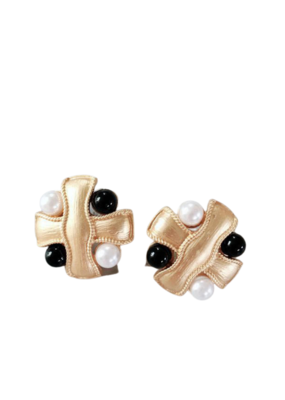 CB Designs Black and White Pearl Clips