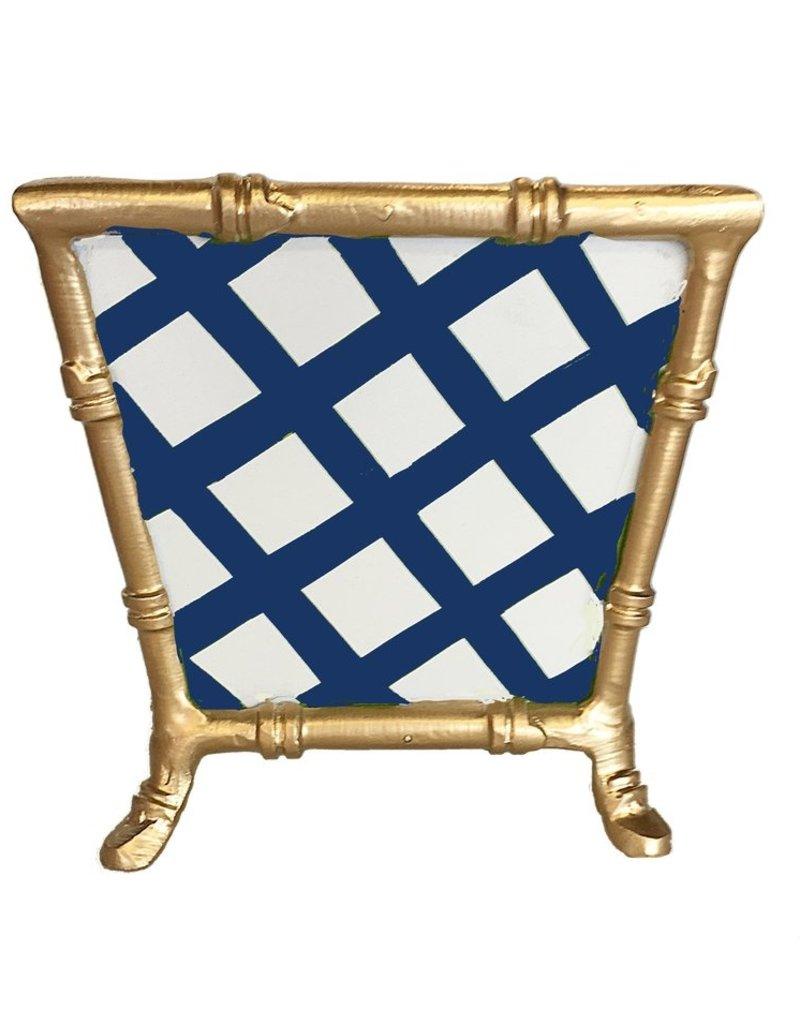 14  Cachepot Blue lattice