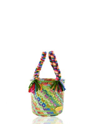 JOSEPHINE ALEXANDER Mini rainbow bucket bag in carribean blue