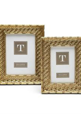 TWO'S COMPANY Gold weave frame 4 x 6