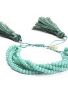 CB Designs Multi beaded aqua bracelet with tassel