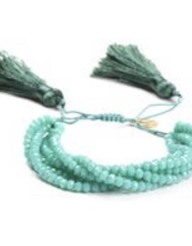 CB Designs Multi beaded aqua bracelet with tassel