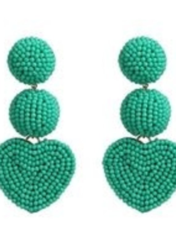 CB Designs Heart 3 tier earring teal
