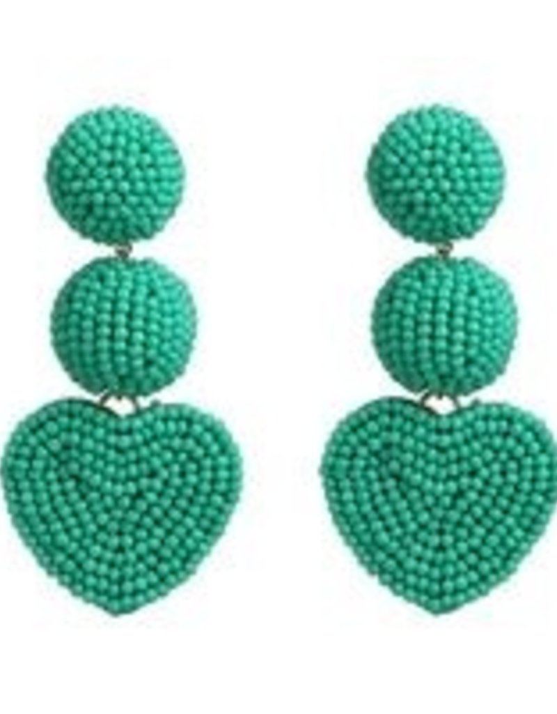 CB Designs Heart 3 tier earring teal