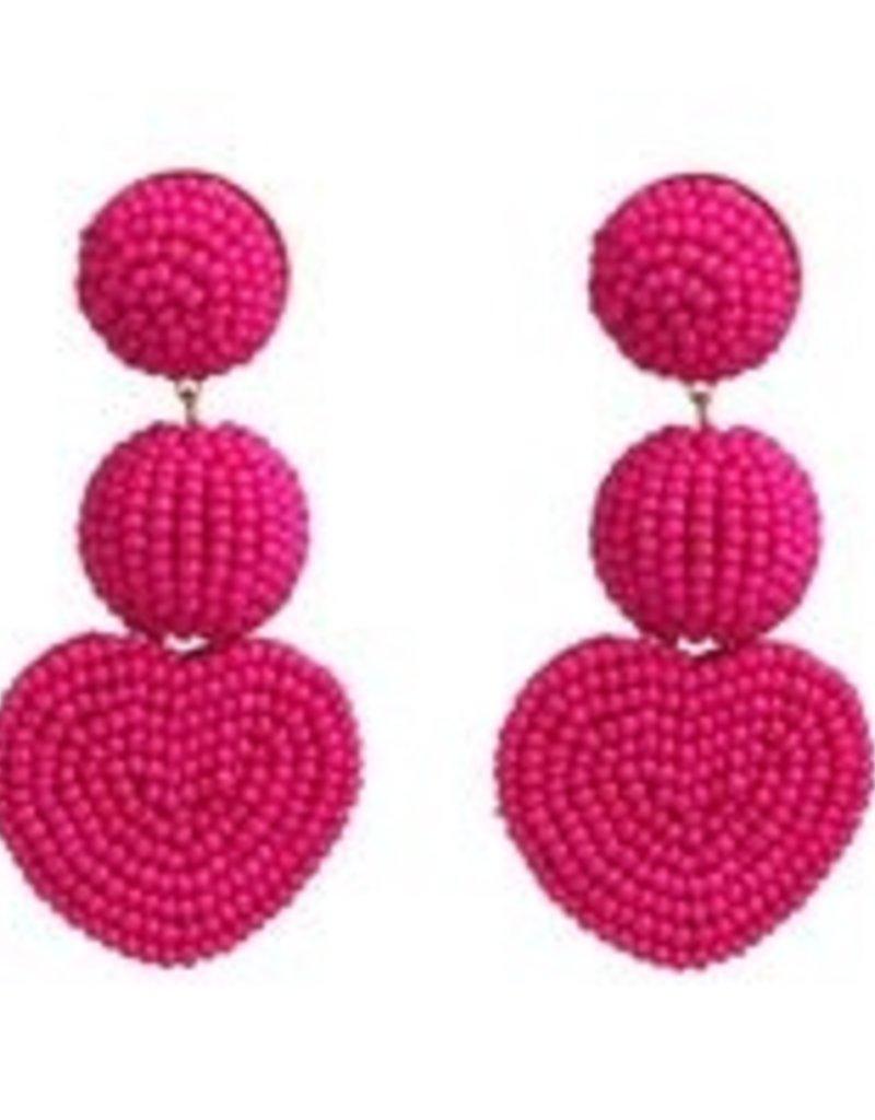 CB Designs Heart 3 tier earring raspberry