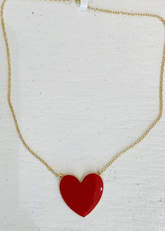 PREPPY GIRL Heart Necklace red