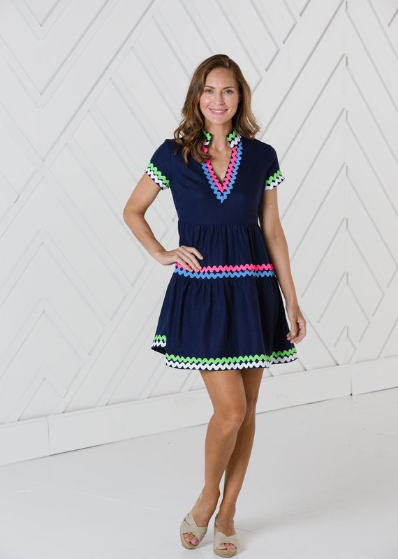 SAIL TO SABLE SHORT SLEEVE FIT AND FLARE DRESS