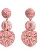 CB Designs Heart 3 tier earring pink