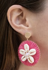 PREPPY GIRL round pink pooka shell earring