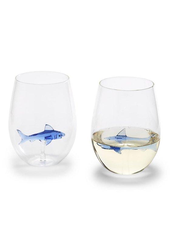 TWO'S COMPANY Shark stemless wine glass