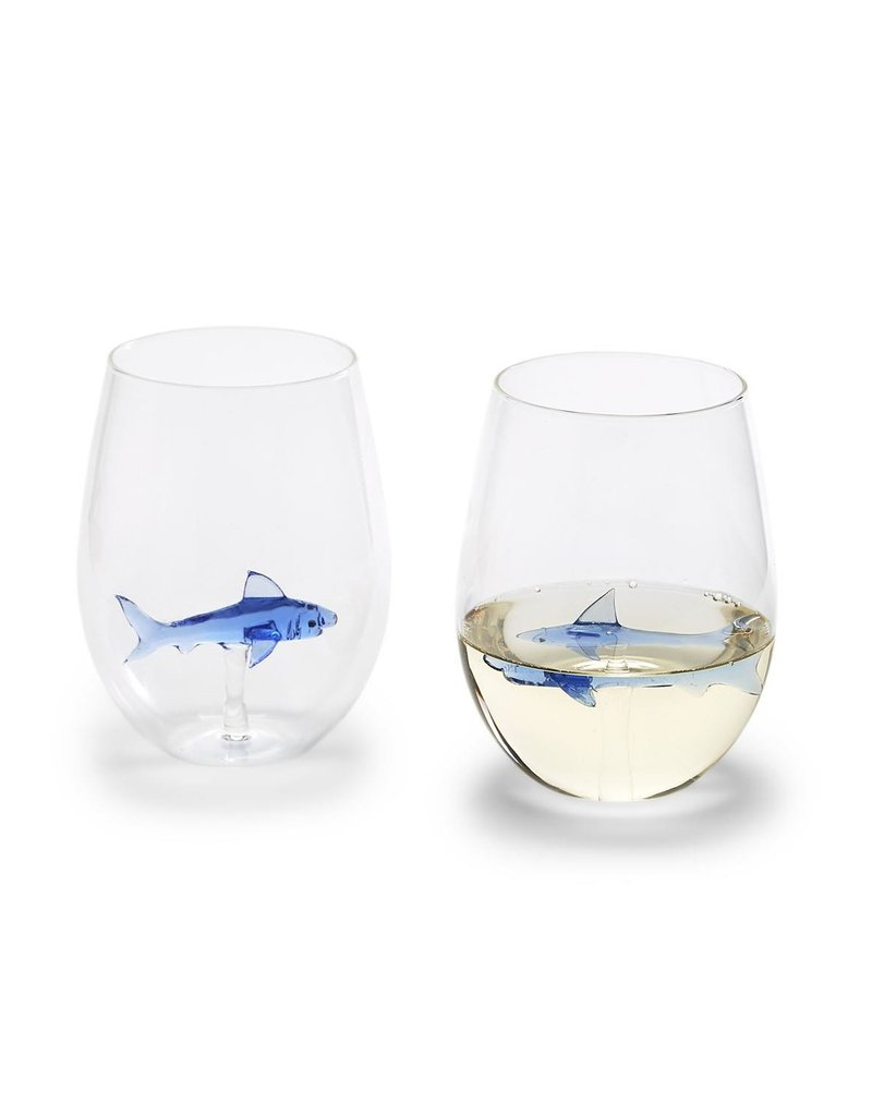TWO'S COMPANY 53192 shark stemless wine glass