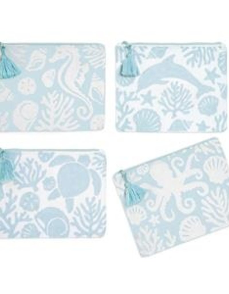TWO'S COMPANY 53055-20 at the shore embroidered pouch