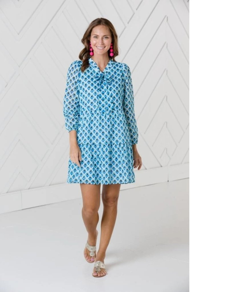 SAIL TO SABLE sp2129 LONG SLEEVE TIERED DRESS