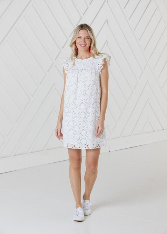 SAIL TO SABLE EYELET FLUTTER SLEEVE DRESS