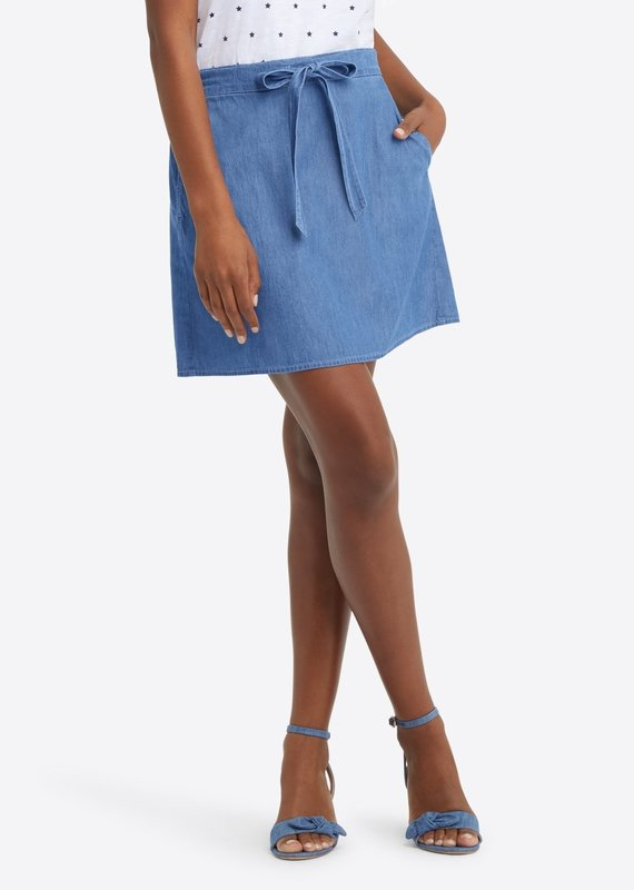 DRAPER JAMES Chambray tie waist skirt