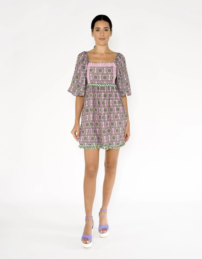 Nicole miller Glassflower square neck mini dress