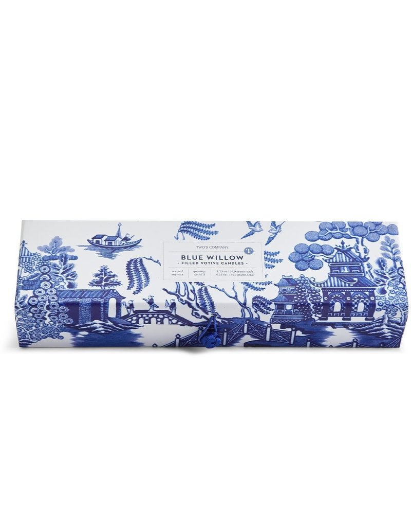 TWO'S COMPANY 53294 Blue willow set of 5 candles