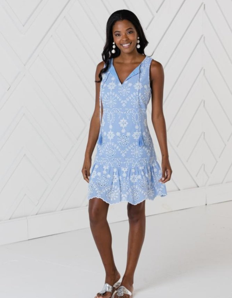 SAIL TO SABLE sp2143 sleeveless ruffle hem dress
