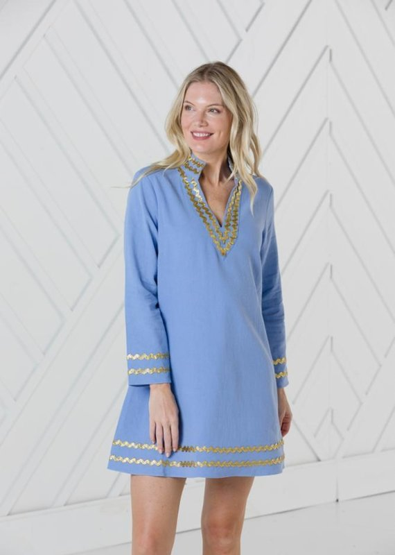 SAIL TO SABLE HYDRANGEA LONG SLEEVE A-LINE CLASSIC TUNIC DRESS