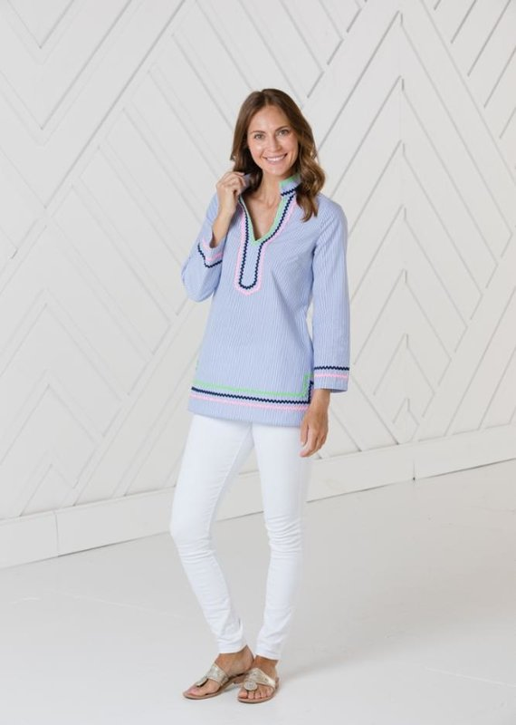 SAIL TO SABLE LONG SLEEVE TUNIC TOP WITH RIC-RAC